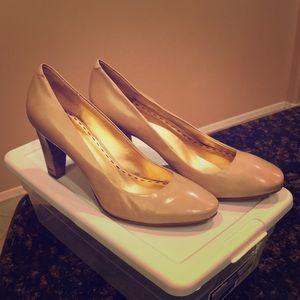 Nude Coach wooden heeled Sheri pumps 8.5B
